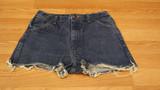 Blue copper cut off shorts (size