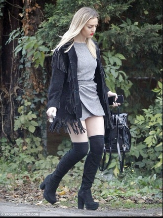 dress perrie edwards style hippie celebrity celebrity style little mix grey dress short dress jacket shorts shoes