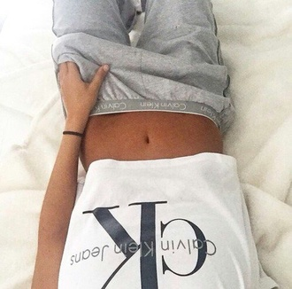 calvin klein t-shirt white t-shirt mens t-shirt grey sweatpants cozy white grey black sweatpants brands brand belly crop cropped crop tops top pants
