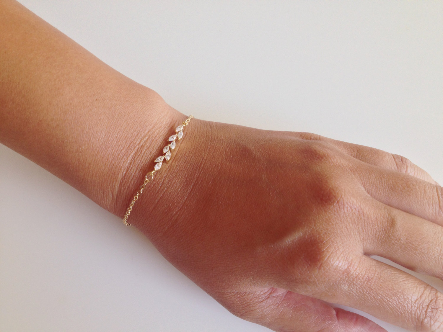 14k gold filled chain or sterling silver bracelet with cubic zirconia leaf detail