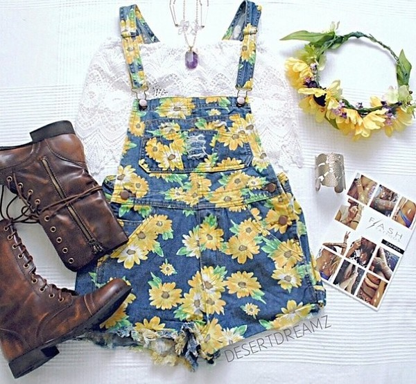 shorts overalls sunflower vintage hipster yellow shoes top hat