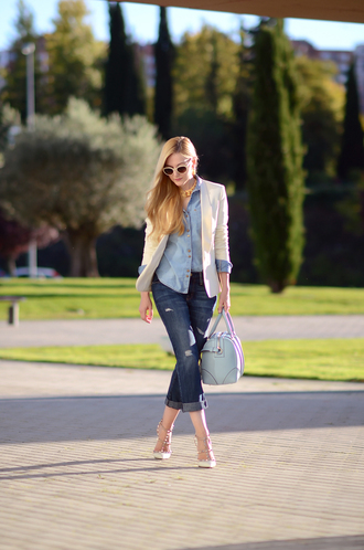 oh my vogue blogger jeans jacket jewels sunglasses tailoring denim bag heels valentino rockstud white sandals slingbacks sandals sandal heels high heel sandals cropped jeans cuffed jeans blue jeans denim shirt blue shirt blazer white blazer spring outfits blue bag