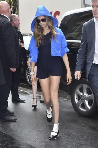 romper jacket cara delevingne fashion week sunglasses
