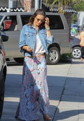 skirt,top,alessandra ambrosio,jacket,denim jacket,model,maxi skirt,spring outfits