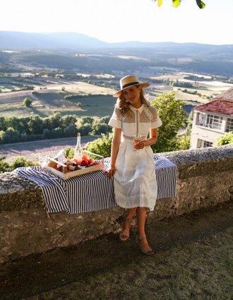 memorandum blogger dress shoes hat white dress summer dress summer outfits midi dress sandals