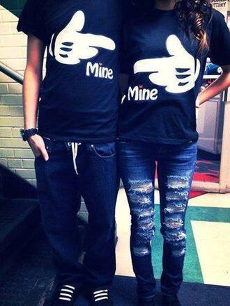 t-shirt mine print mickey mouse couple clothing matching shirts matching couples matching shirts for couples jeans coat