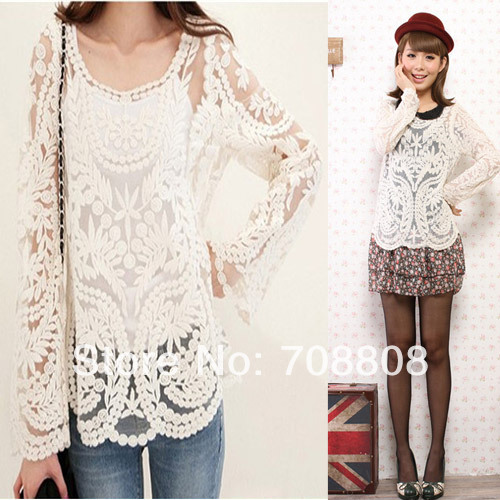 Retail 12 Colors Women Lace Top Embroidery Crochet Blouse 2014 Fashion Sexy Sheer Long Sleeve shirt S/M/L/XL-in Blouses & Shirts from Apparel & Accessories on Aliexpress.com