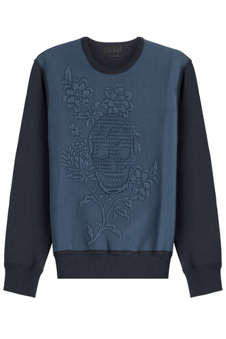sweatshirt embroidered cotton blue sweater