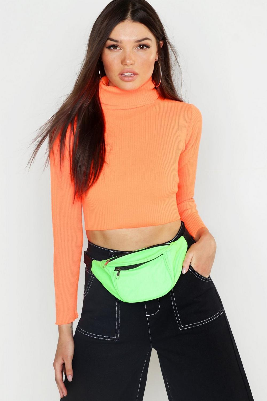 Neon Knitted Roll Neck Crop Jumper   Boohoo