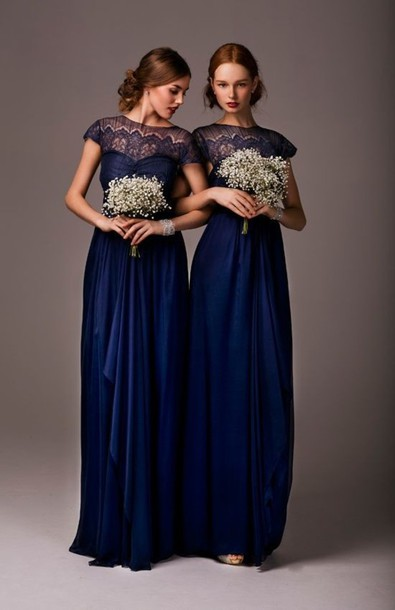 Dress: long bridesmaid dress, empire dress, lace bridesmaid dress ...