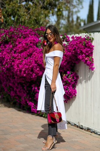 dress white dress grey pants pants sandal heels sandals sunglasses off the shoulder bag red bag