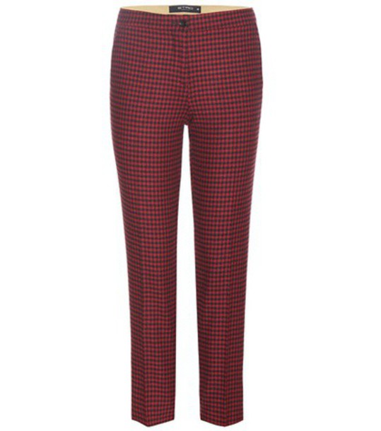 ETRO cropped wool red pants