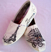 shoes,cute,paris,toms,white,hippie,hipster,l'amour,custom toms,ivory,white toms,designed toms