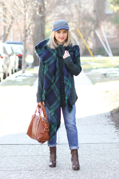 poor little it girl blogger jeans tartan scarf blanket scarf cap brown leather boots leather bag sweater shoes hat bag jewels
