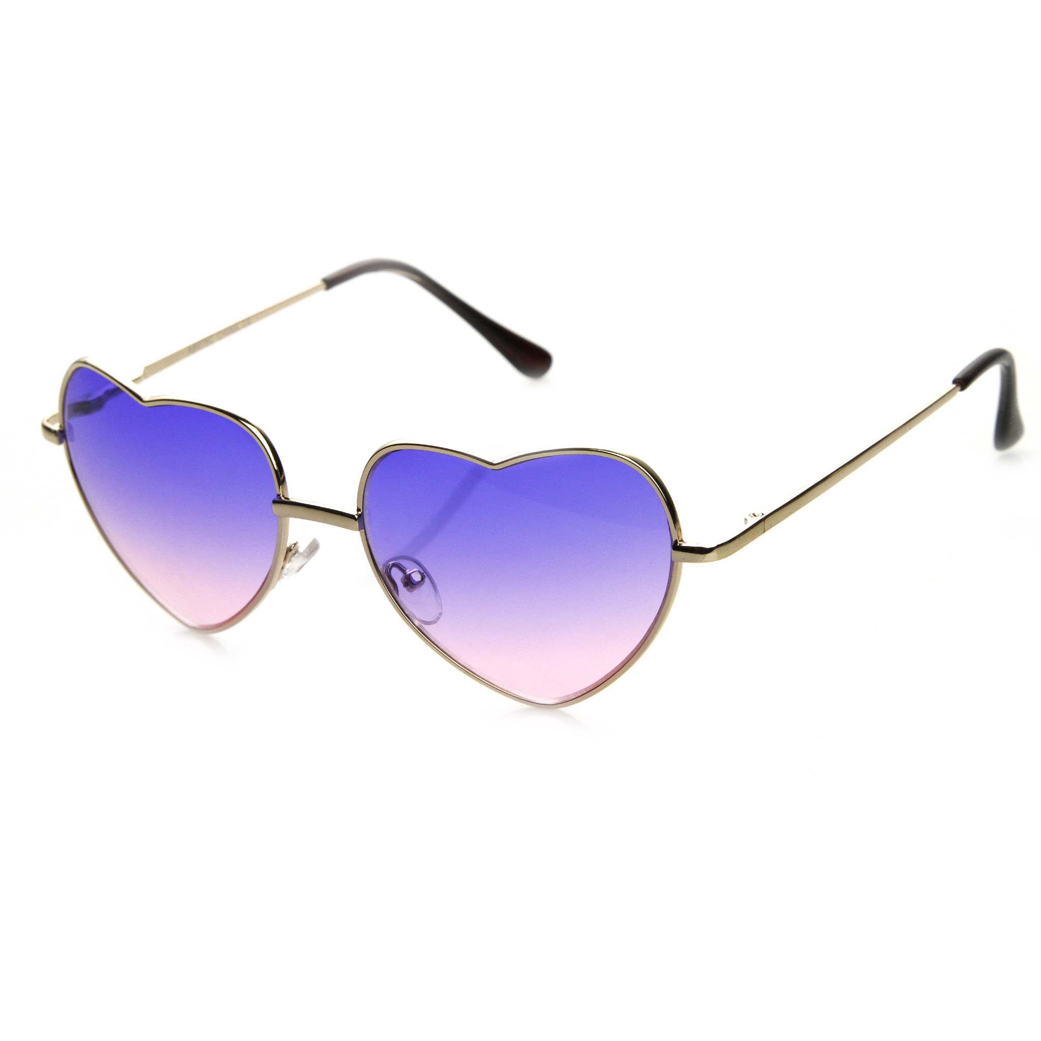 Super Cute Retro Metal Heart Shape Sunglasses With Rainbow Color Lens