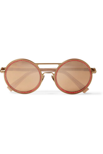 sunglasses mirrored sunglasses gold metallic pink