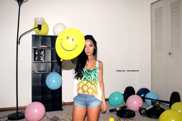 pineapple yellow crop tops swimwear tropical pattern pineapple print