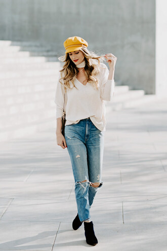 a little dash of darling blogger top sweater hat shoes make-up bag fisherman cap ankle boots winter outfits