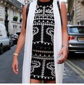 top,halter top,skirt,embroidered,black,white