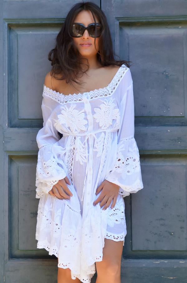 dress lace dress cute dress white dress white lace dress white cotton bohemian hippie boho dress boho
