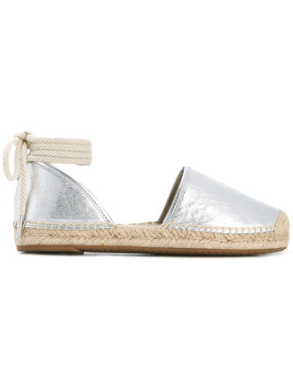 women espadrilles leather grey shoes