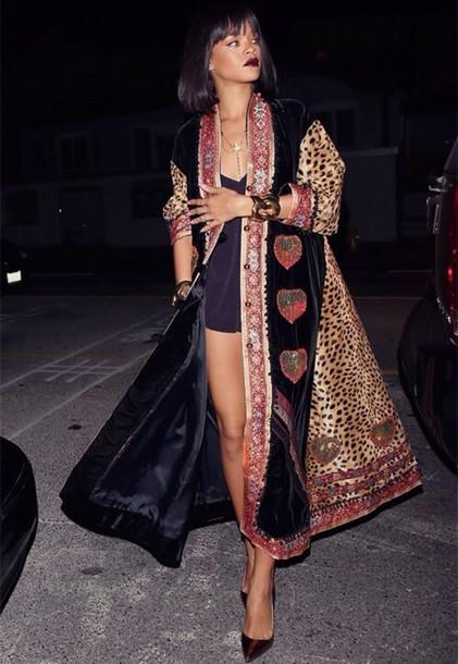 Jacket Coat Longline Jacket Throw Animal Print Leopard Print Rihanna Rihanna Style