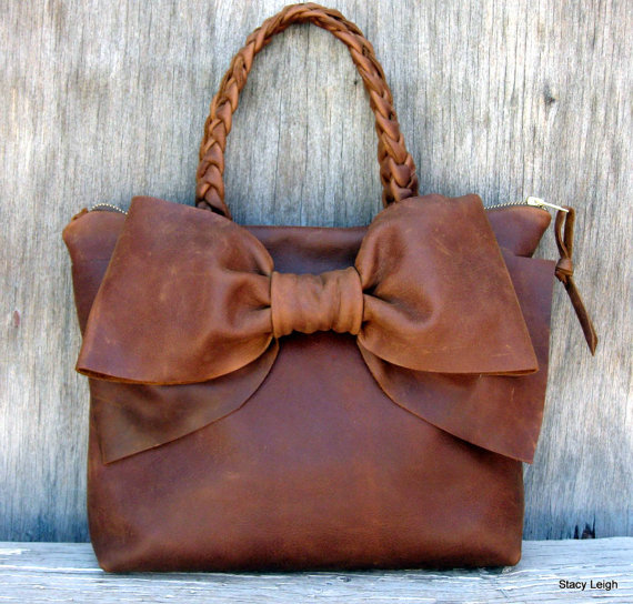 Leather bow handbag in distressed brown by stacy di stacyleigh