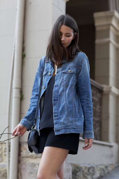 blogger denim jacket bag harper & harley shorts