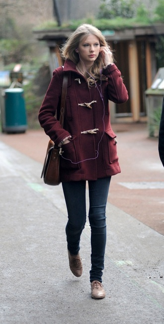 taylor swift duffle coat burgundy