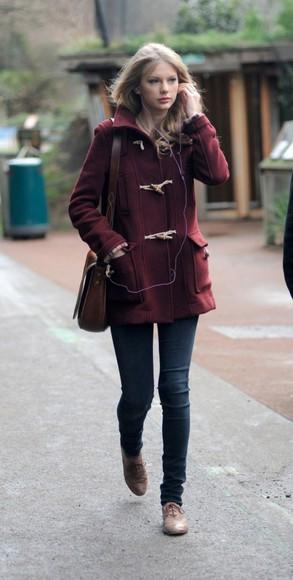 duffle coat taylor swift burgundy