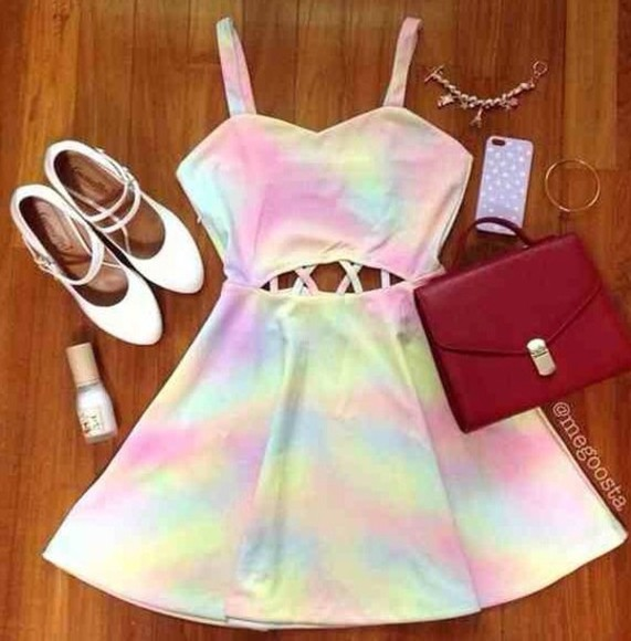 pink blue dress multi-colored tie dye rainbow yellow white prom acid wash spaghetti strap sweetheart neckline open back