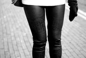 pants,black leggings,lether,black,indian,aztec,winter outfits