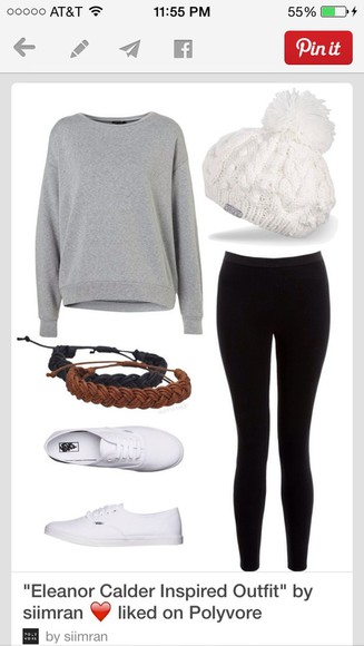 hat white hat black leggings leggings gray sweater sweater