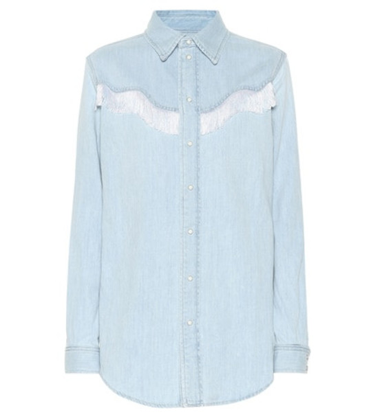 Ganni Fringed denim shirt in blue