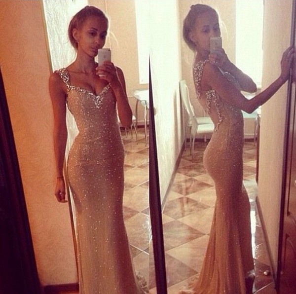 dress prom dress nude dress glamour diamonds gown