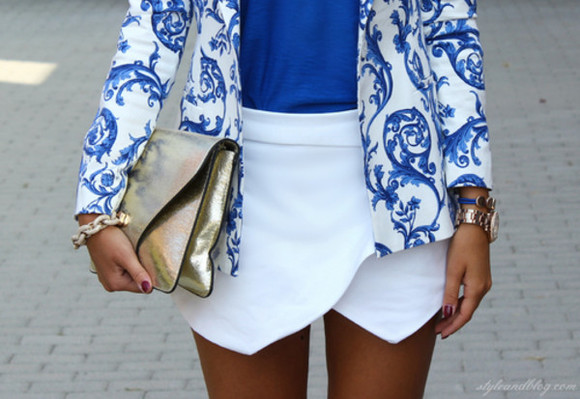 jacket watch blazer floral jacket floral blazer blue white envelope skirt gold bag blue top blue lagon