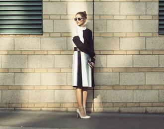 skirt olivia palermo fashion week 2014 streetstyle sunglasses sweater