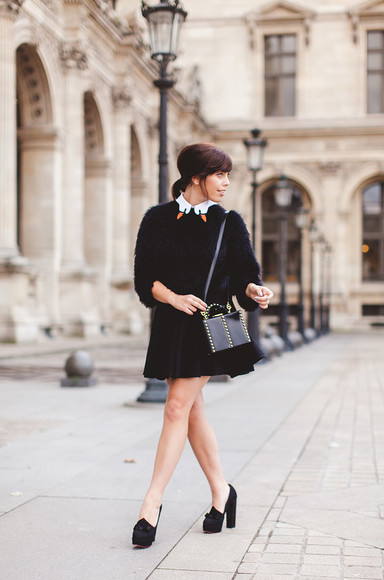 wish wish wish blogger bag charlotte olympia skater skirt animal collar back to school 60s style