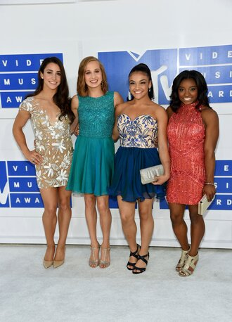 dress aly raisman madison kocian laurie hernandez simone biles vma mini dress floral dress red dress blue dress teal a line dress tube dress high neck v neck v neck dress pumps pointed toe pumps high heel pumps nude pumps sandals sandal heels high heel sandals silver sandals blue sandals gold sandals metallic clutch clutch silver clutch earrings