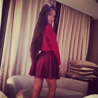 short skirt dark red