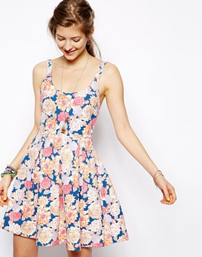 Minkpink | Minkpink Floral Frenzy Low Back Skater Dress at ASOS