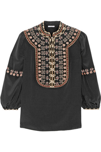 blouse embroidered black silk top