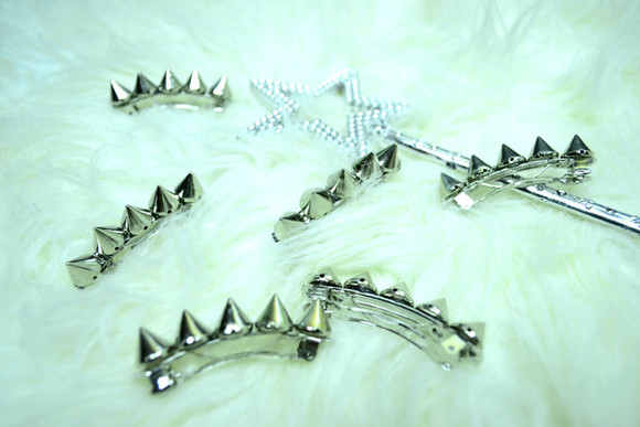 jewels hair clip hair accessory clips khaosity studded spiked spikes spiked hairclips studded hair clips grunge goth pastel pastel goth hair clips barette spiked barette studded barette hair accessories shopkhaosity