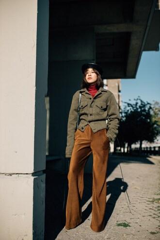 pants tumblr mustard khaki khaki pants corduroy jacket army green jacket hat