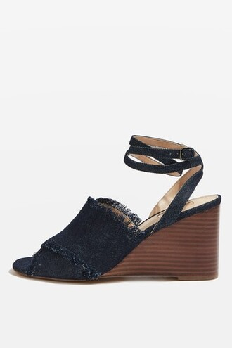 denim cross sandals wedge sandals shoes
