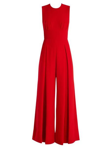 Emilia Wickstead - Ethel Wide Leg Wool Crepe Jumpsuit - Womens - Red
