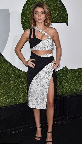 skirt top slit skirt midi skirt sandals sarah hyland crop tops bustier crop top bustier shoes