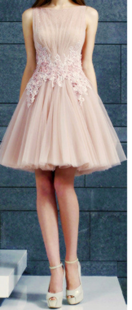 dress short prom dress soft pink lace