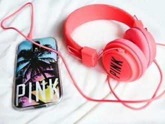 earphones headphones pink