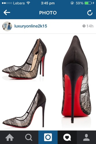 shoes lace louboutin heels black red bottom